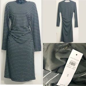 Ann Taylor S gray striped ruched side dress nwt